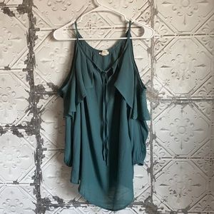 Teal off shoulder ruffle maternity top